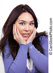 Surprise and shock expression on woman face