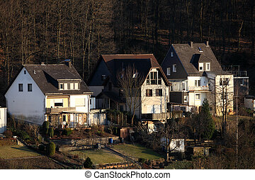 Residential houses in Siegen, North Rhine-Westphalia,...