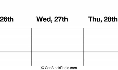 Weekly Schedule Diary HD - Mono, black and white animation...