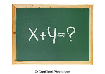 Black Board with Question on White Background