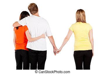 Amore, triangolo, fra, 3, giovane, Persone