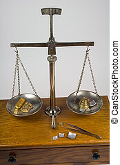 Antique Balance Scale Weighing Gold - Weighing gold bar and...