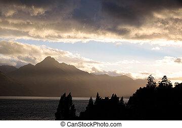 Montaña, Gama, tarde,  remarkables, luz