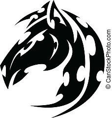 Mustang Stallion Horse Tribal Tattoo Vector Image - Graphic...
