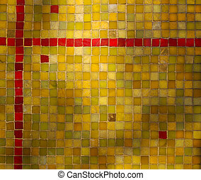 Green Yellow Red Tile Mosaic Background - Background image...