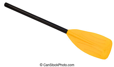 Yellow oar paddle, isolated on white