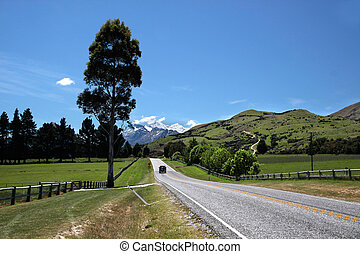 Country road between Queenstown and Glenorchy, Otago, South...