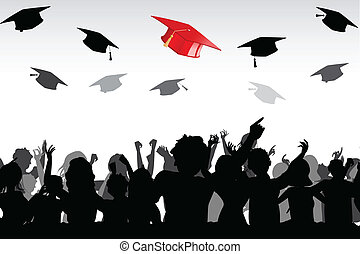Graduation - illustration of graduates tossing mortar board...