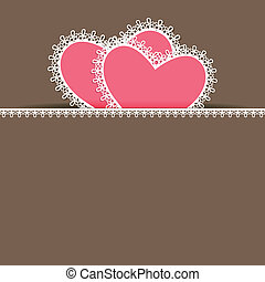 Love Background - illustration of pair of heart with lace...