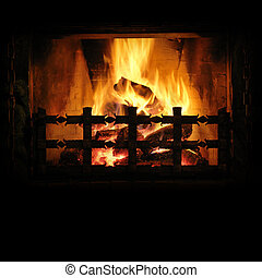 The fire - Fireplace with a blazing fire. Background for...