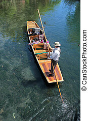 Barge on the River Avon in Christchurch, Canterbury, South...