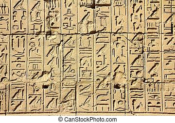 ancient egypt hieroglyphics in karnak temple - ancient egypt...