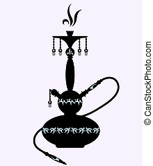 hookah with oriental pattern, black and white