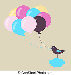 bird with balloons