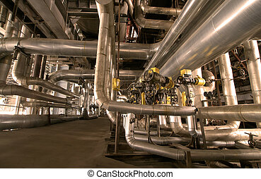 Industrial zone, Steel pipelines and cables in yellow tones