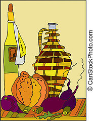 Still Life - Still-life with bottles, a pumpkin and a beet