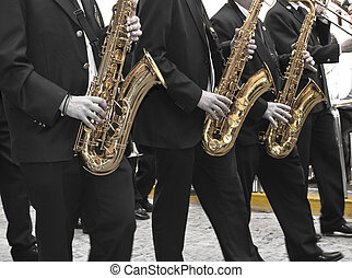 Trumpeters during Holy Week procession in Jumilla