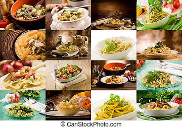 italien, pâtes, collage