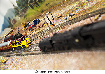Model Trains - Model trains at a station