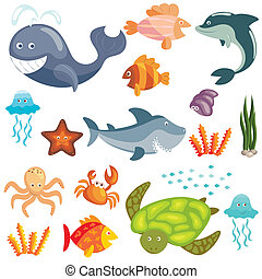Marine animals set - Set of cute cartoon sea animals on...