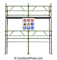 Green scaffold with safety sign board isolated on white