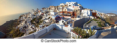 Oia village at Santorini, Greece - Panoramic view of Oia...