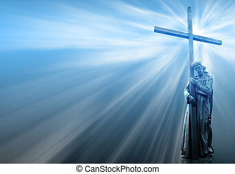 jesus holding a cross on blue background with white rays