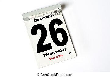 26. December 2012 Boxing Day - calendar sheet