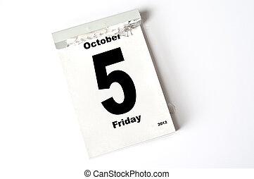 5 October 2012 - calendar sheet