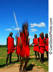Masai warrior dancing traditional dance Africa Kenya Masai...