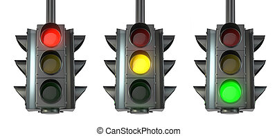 Set of traffic lights, red, green and yellow, isolated on...