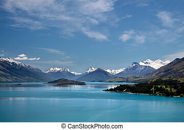 Mountain range and Lake Wakatipu between Queentown and...