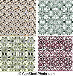 Set of detailed repeating damask patterns - Set of detailed...