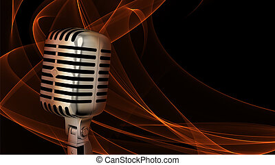 Classic microphone closeup on abstract background