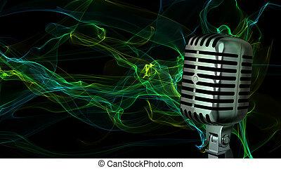 clássicas, microfone, closeup