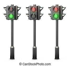 Set of pedestrian traffic lights