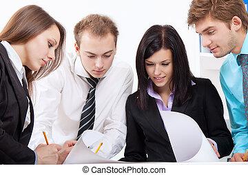joven, empresa / negocio, gente, oficina