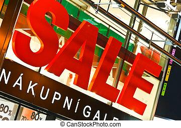eingang, groß, Verkauf, zeichen, Oben, kaufmannsladen