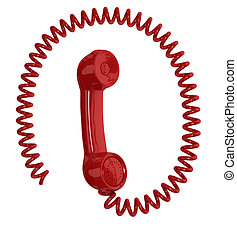 handset - one vintage handset with a spiral cable around it,...