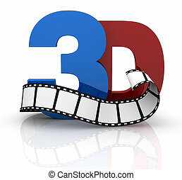 concept of 3d movie technology - the word 3d colored in red...