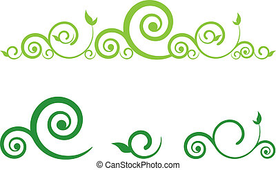 swirl floral border - green floral border with swirls