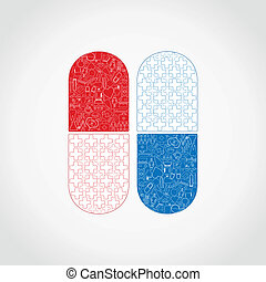 Medicine a tablet - Two tablets on a grey background. A...