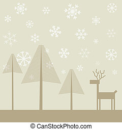 Deer in wood2 - Snow in winter wood. A vector illustration