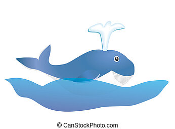 blue whale - smiling blue whale kid on ocean wave vector...
