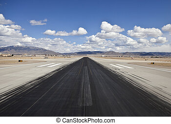 Desert Airport Jet Runway Skid Marks - Heavy skid marks on a...