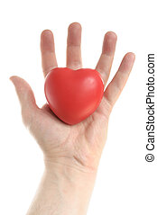 Mans Hand Holding a Red Heart - Red Heart in Mans Palm...