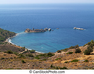 Beautiful beach on the island of Chios in Greece