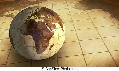 vintage grunge globe rotating loop - vintage grunge globe...