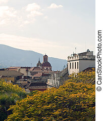 La Orotava from gardens - View of La Orotava from gardens,...