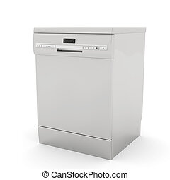 Dishwasher - Freestanding dishwasher on white background